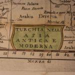 1742 Color Copper MAP of TURKEY Black Sea Asia Minor Tripoli Arabia 23 X 17cm