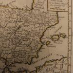 1784 Color MAP of SPAIN & Portugal Iberian Peninsula Grenada Lisbon Vaugondy