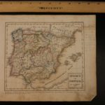 1833 Color Steel MAP of Spain and Portugal Strait of Gibraltar 26cm X 22cm