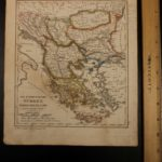 1833 Color Steel MAP of Turkey and Greece Serbia Macedonia Crete 26cm X 22cm