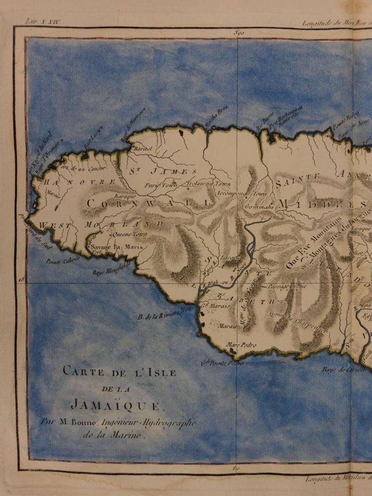 Schilb antiquarian 1780 color copper map jamaica bahamas antilles caribbean bonne 41cm x 27cm gumiabroncs Gallery