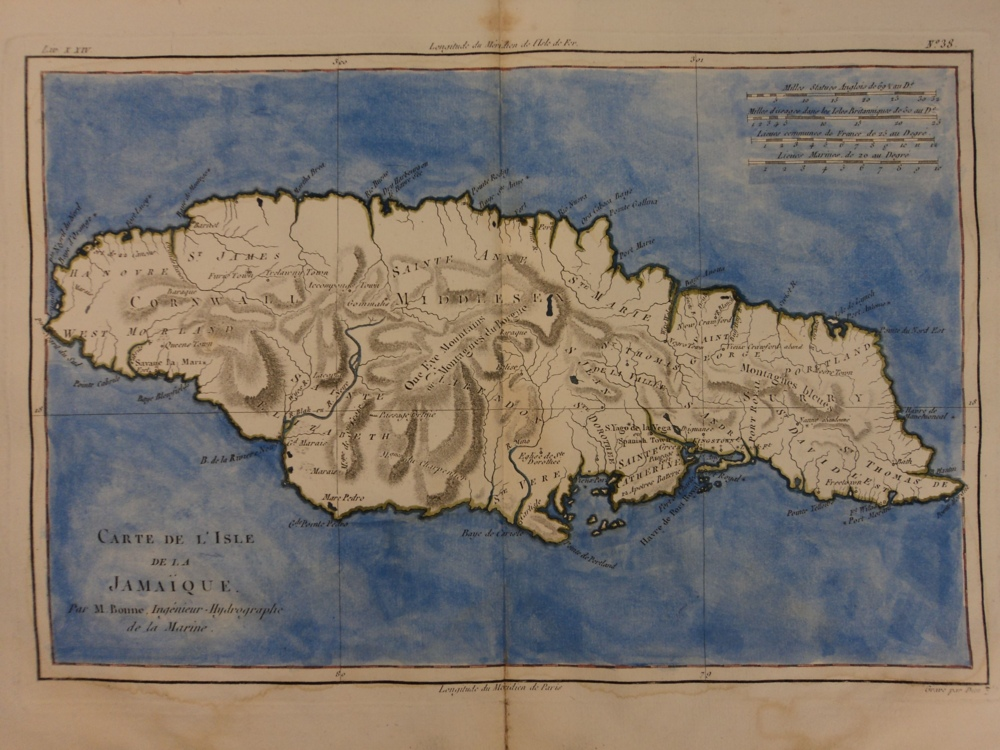 Schilb antiquarian 1780 color copper map jamaica bahamas antilles caribbean bonne 41cm x 27cm gumiabroncs Images