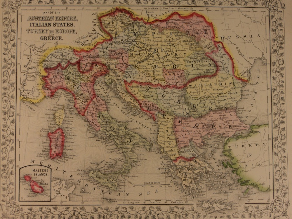 Schilb antiquarian 1866 color steel engraved map of austria italy turkey turks greece hungary gumiabroncs Choice Image