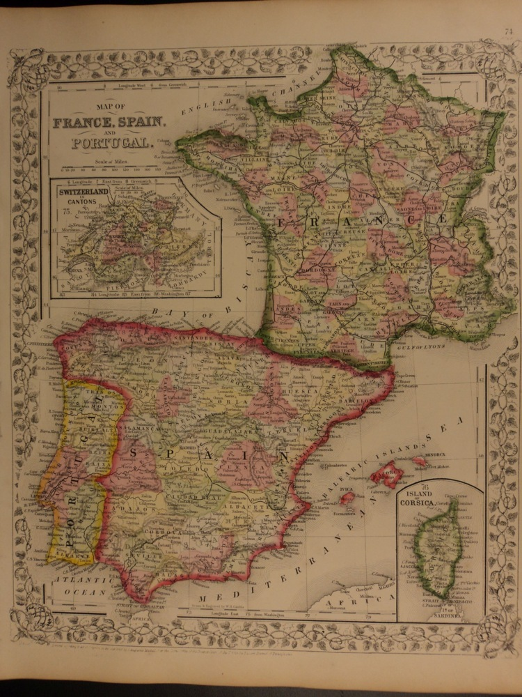 Map Of Spain Portugal And France.Schilb Antiquarian