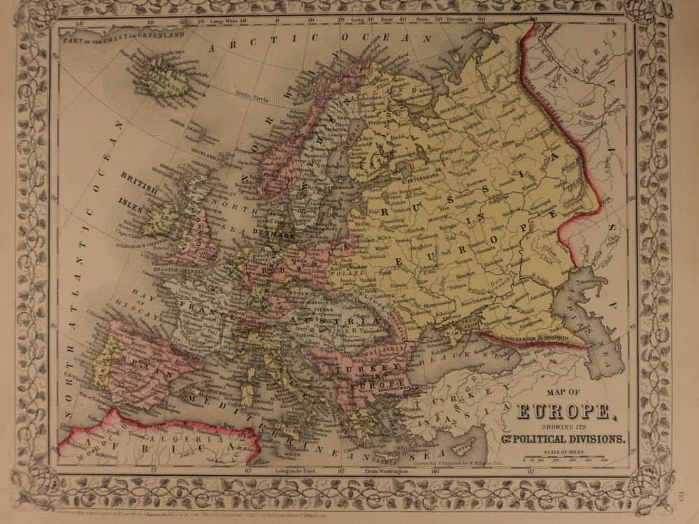 Schilb antiquarian 1866 color steel engraved map of europe france uk spain austria italy turkey gumiabroncs Image collections