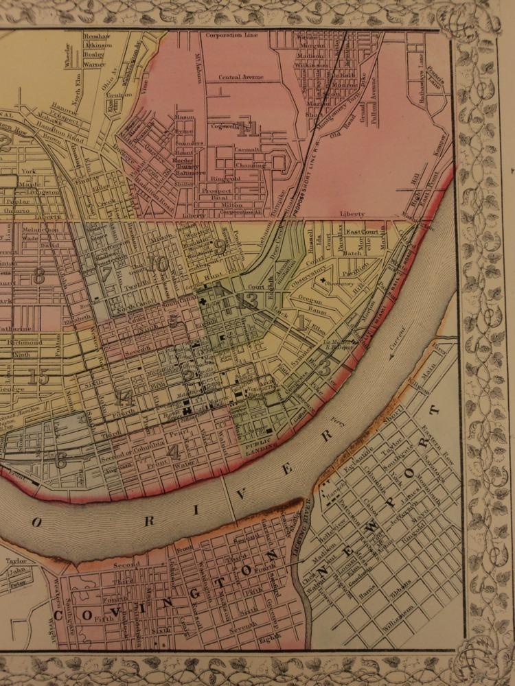 Schilb antiquarian 1866 color steel engraved mitchell map of cincinnati covington ohio river gumiabroncs Choice Image