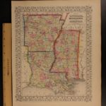 1866 Color Steel Engraved Mitchell Map LOUISIANA Arkansas Mississippi Dixie CSA