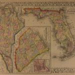1866 Color Engraved Mitchell Map of FLORIDA South Carolina North Carolina CSA