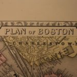 1866 Mitchell Color Steel Engraved Map of City of BOSTON Massachusetts Harbor