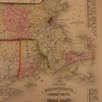 1866 Color Map of New England Massachusetts Connecticut Boston Rhode Island