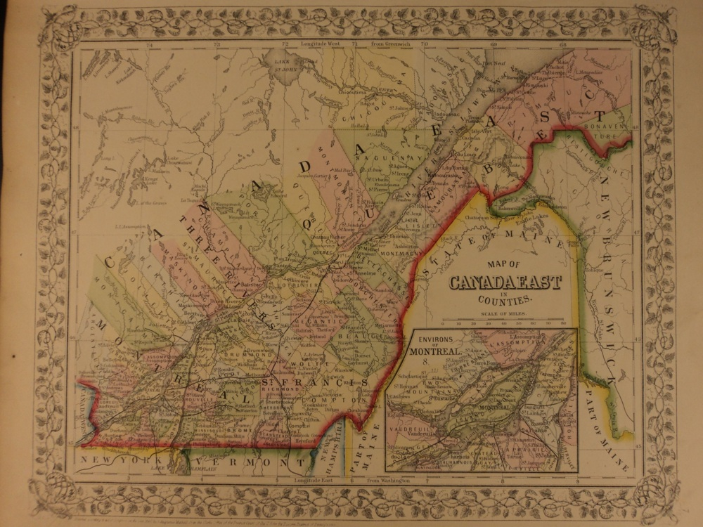 Map Of Canada Quebec Montreal.Schilb Antiquarian