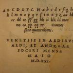 1521 2nd ALDINE ed Suetonius Twelve Caesars Roman Julius Caesar Nero Augustus