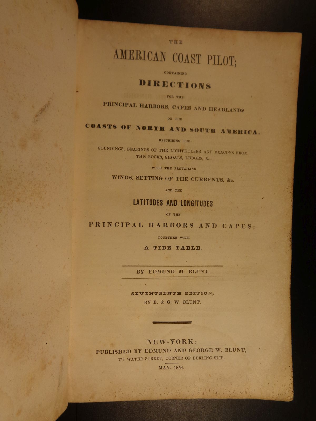 Schilb antiquarian 1854 american coast pilot by blunt nautical guide navigation lighthouses harbors nvjuhfo Image collections
