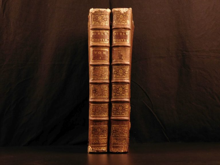 Image of 1779 HUGE Holy BIBLE Swiss Protestant Osterwald Septuagint Vulgate Hebrew Greek