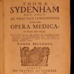 1749 English Medicine of Thomas Sydenham Surgery Cures Smallpox Hysteria 2v
