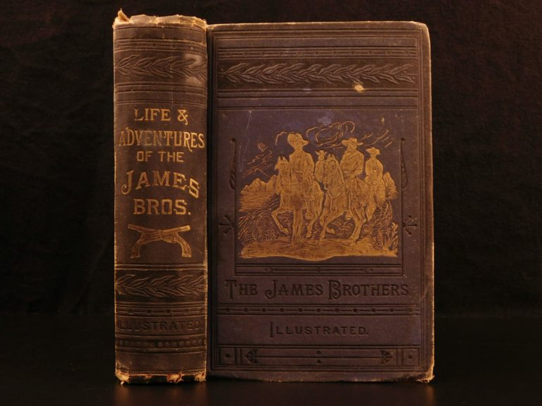 Image of 1882 Frank & Jesse James Gang Missouri Outlaw Train Bank Robbers Illustrated