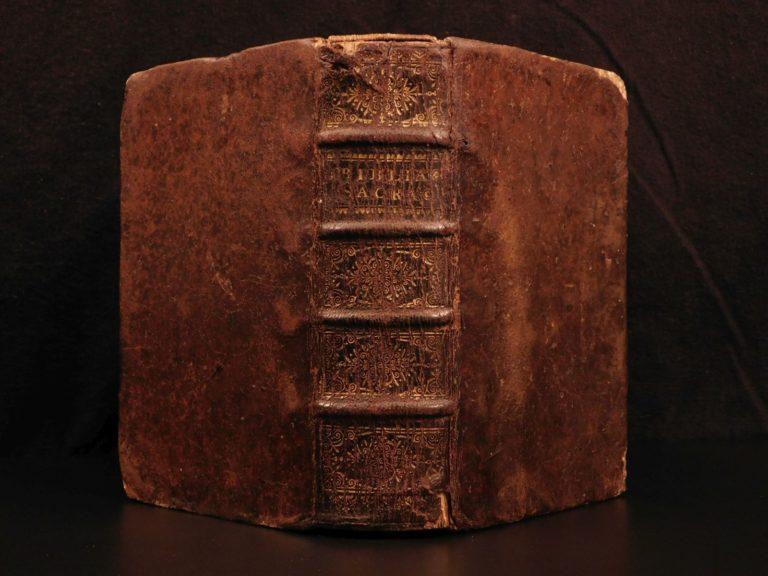 Image of 1664 Biblia Sacra Vulgate Holy BIBLE Lyon Girin & Comba Nicolas Poussin Baroque