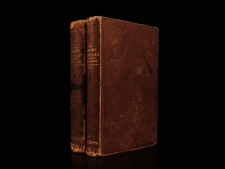 Image of 1853 Wilkinson EGYPT Mythology Hieroglyphics Illustrated Egyptian Customs 2v SET