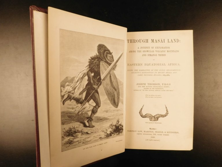 Image of 1885 1st ed Through Maasai Land AFRICA Hunting Exploration MAPS Kenya Thomson