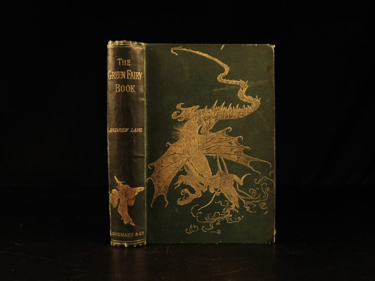 Image of 1892 1st ed Green Fairy Book Andrew Lang Fairy Tale Three Little Pigs Magic Swan