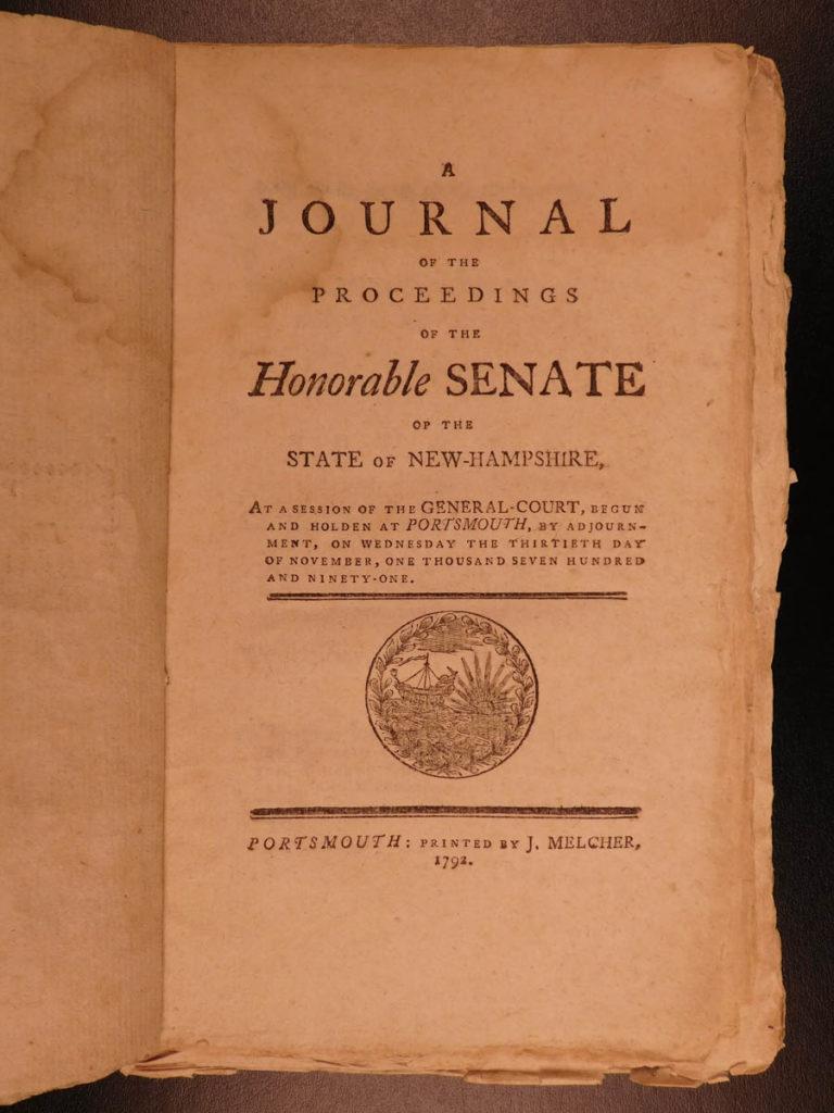 Image of 1791 New Hampshire Journal of Proceedings Politics Early Americana SENATE
