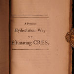 1690 1ed Robert Boyle Hydrostatic Experiments Chemistry Specific Gravity Physics