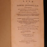 1793 Life of Samuel Johnson by James Boswell FAMOUS English Biography 3v SET