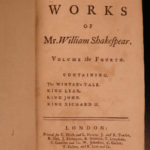 1760 Works of William Shakespeare Plays Tempest Taming of Shrew Hanmer Pope 6v