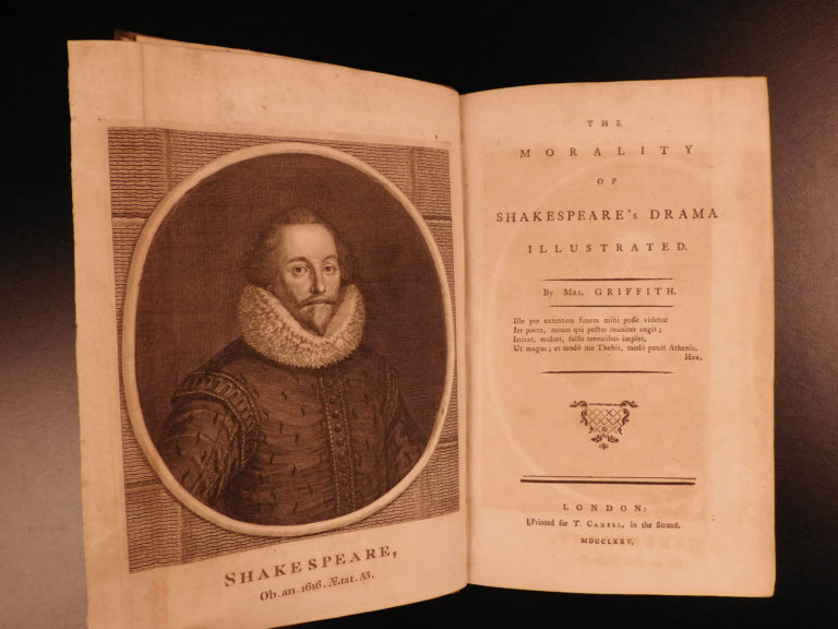 Image of 1775 1st ed Morality of Shakespeare Drama Elizabeth Griffith English Plays