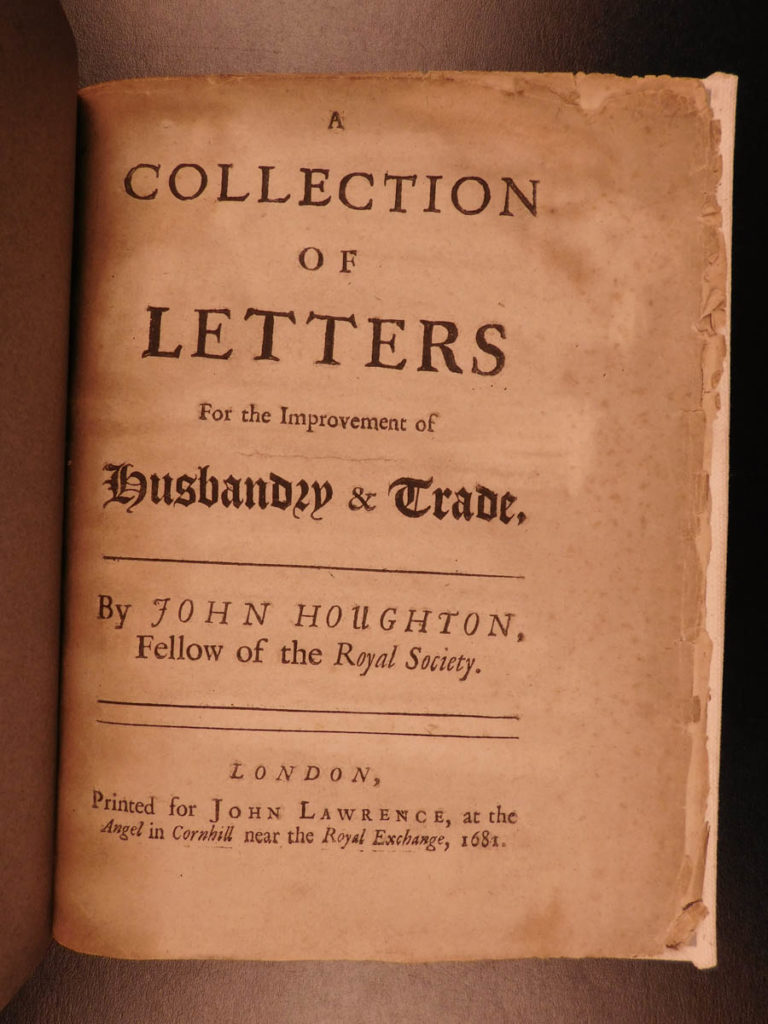 Image of 1681 1st ed Houghton Letters of Husbandry & TRADE England Agriculture Finance