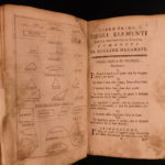 1755 Elements EUCLID Greek Mathematics Logic Geometry Math Naples Italian