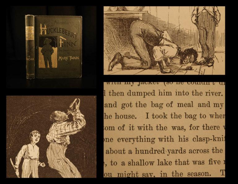 Image of 1885 1st ed 1st printing Adventures of Huckleberry Finn Mark TWAIN Tom Sawyer