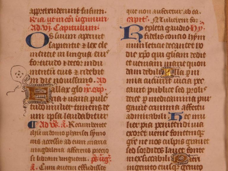 Image of 1470 BEAUTIFUL Illuminated Medieval Manuscript Leaf Gold/Color Initials Breviary