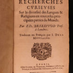 1667 Brerewood LINGUISTICS Diversity of Language Voyages American Pagans Indians