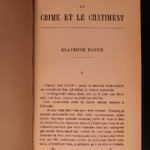 1884 Crime and Punishment by Dostoevsky Russian Literature Early French ed 2v