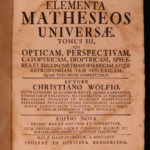 1735 German Wolff Elementa Universae Philosophy Mathematics Astronomy Optics