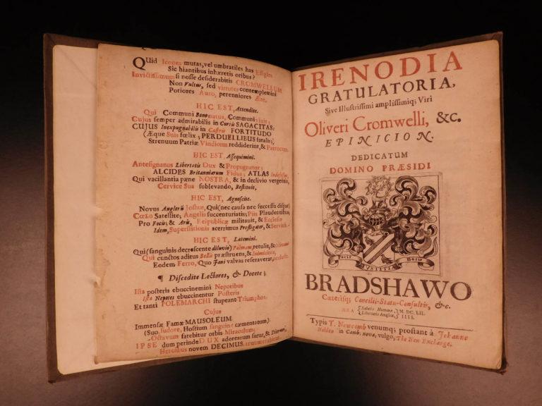Image of 1652 1st ed Oliver CROMWELL English Civil War Payne Fisher Irenodia Gratulatoria
