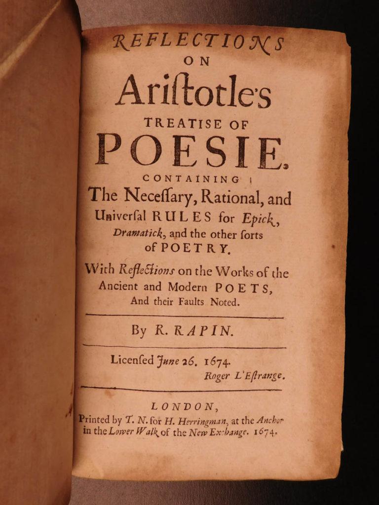 Image of 1694 1ed English ARISTOTLE Treatise Poetics Greek Literature Philosophy Rapin