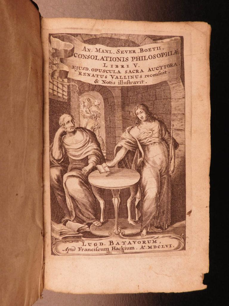 Image of 1656 Boethius Consolation of Philosophy Medieval Free Will Vallinus Latin RARE