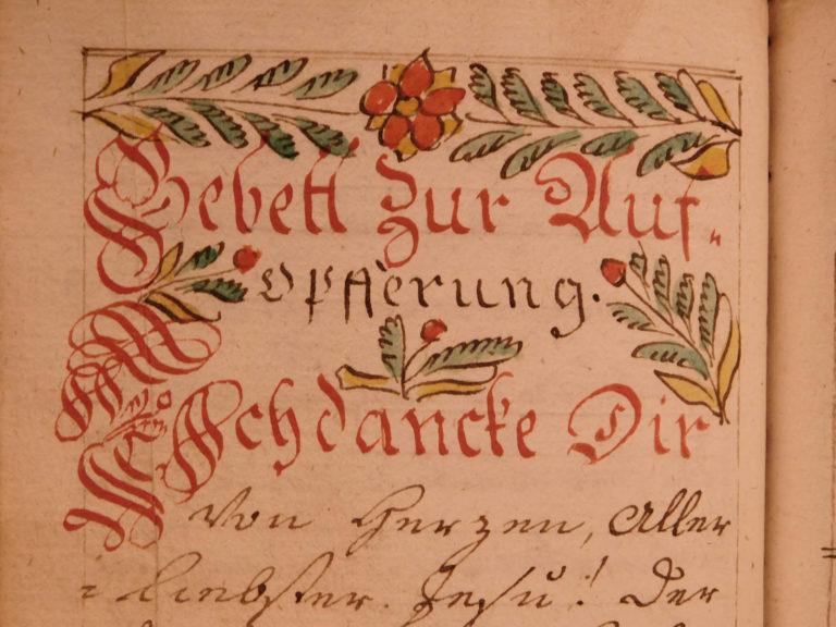 Image of 1787 EXQUISITE Handwritten German Manuscript Prayer Journal Gebetbuch Folk Art