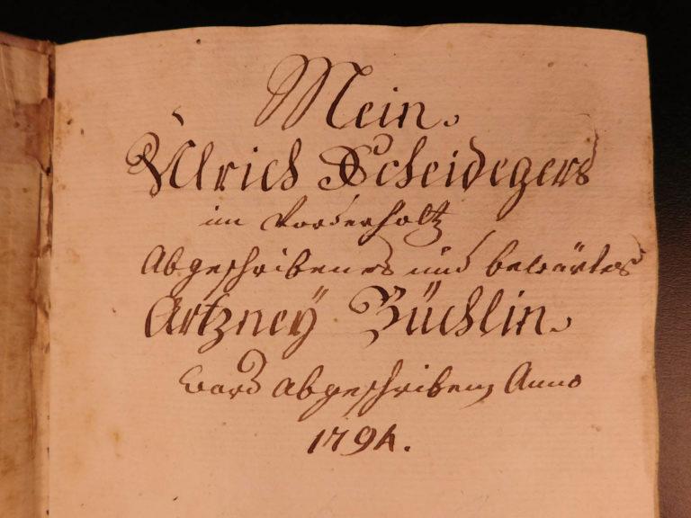 Image of 1794 Handwritten German Mansucript on Artzney-Buchlein Medicine Dentistry Diet