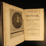 1672 John Selden Titles of Honor Heraldry Genealogy Persia Greek Rome Islam RARE