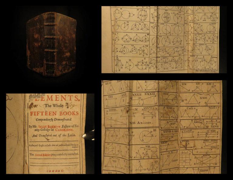 Image of 1686 EUCLID Elements ENGLISH Greek Mathematics Geometry Science Barrow RARE