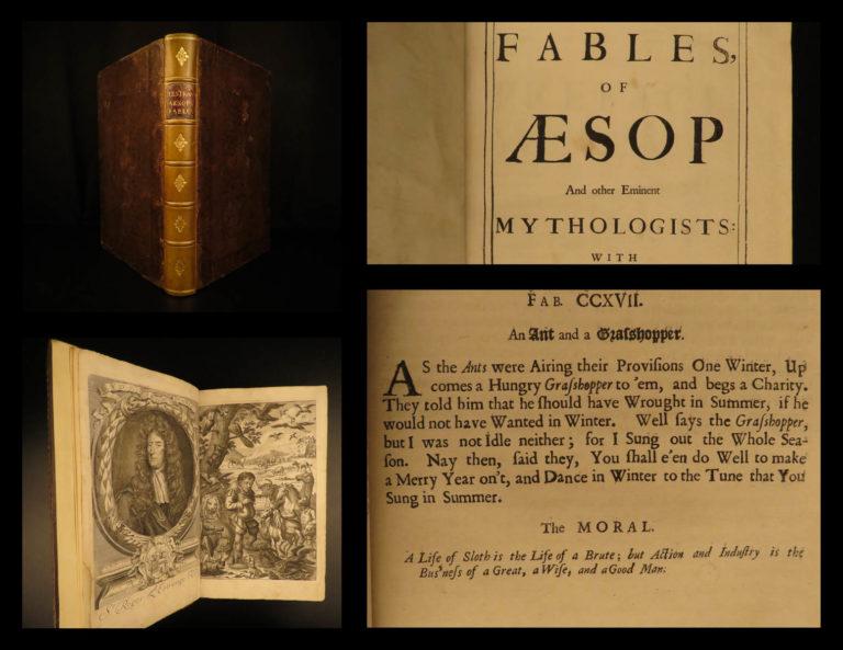 Image of 1692 1st ed Aesop's Fables AESOP English Folklore Estrange Mythology Barlandus