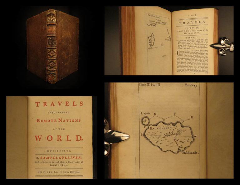 Image of 1747 Gulliver's Travels Jonathan Swift English Classic Illustrated Maps FAMOUS