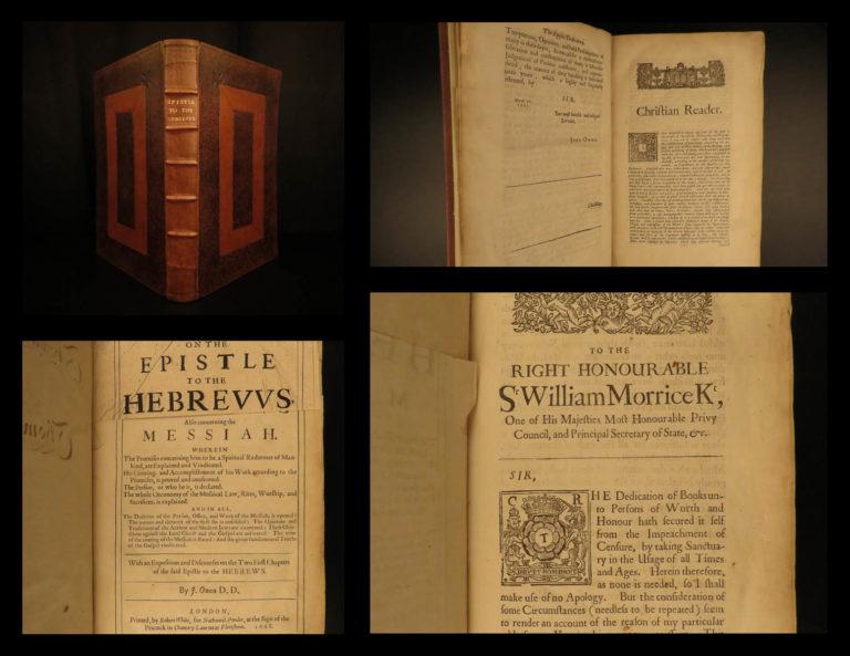 Image of 1668 1ed John Owen Puritan Bible & Commentary Book of Hebrews Ireland Provenance