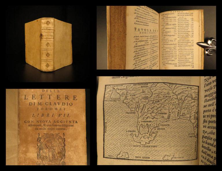 Image of 1572 Italian Letters of Claudio Tolomei on Dante Poetry Mount Argentario MAP