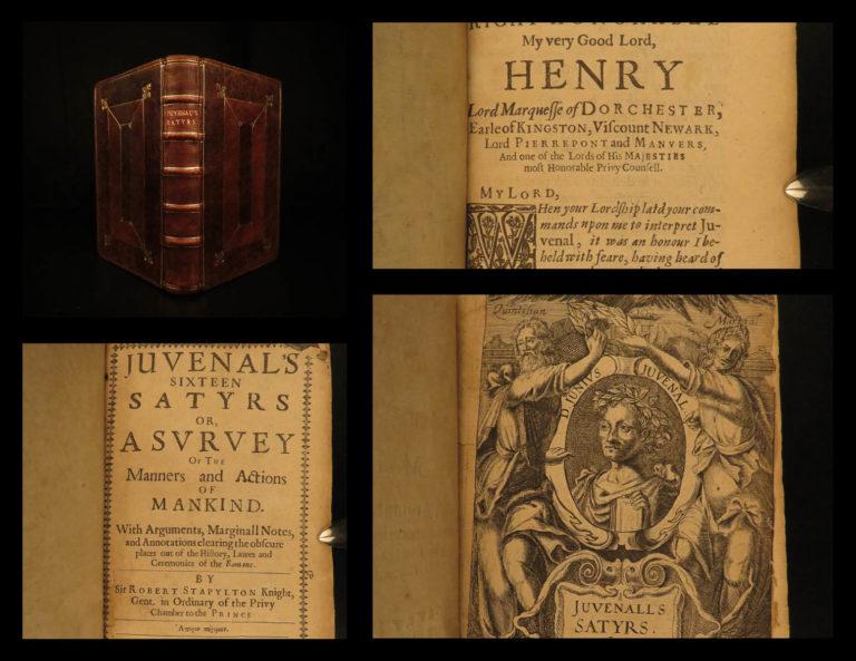 Image of 1647 1st English ed Juvenal SATIRES Stoic Philosophy Stapylton Mythology ROME