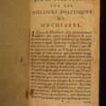 1691 Discourses on LIVY by Niccolo Machiavelli with INFAMOUS KING Provenance