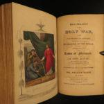 1853 BEAUTIFUL John Bunyan Pilgrim's Progress Color Illustrated Holy War PURITAN
